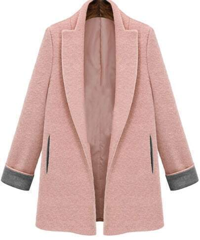 Pink Lapel Long Sleeve Woolen Slim Coat