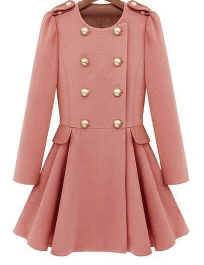 Pink Long Sleeve Buttons Flouncing Coat