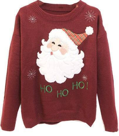 Wine Red Long Sleeve Santa Claus Embroidered Sweater