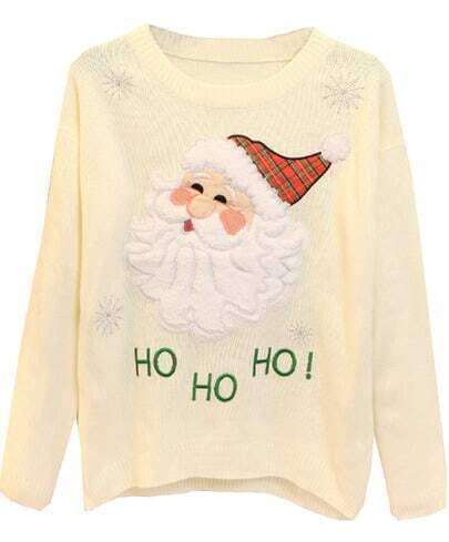 Beige Long Sleeve Santa Claus Embroidered Sweater