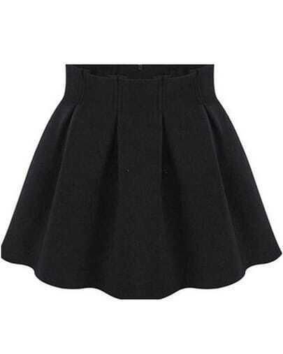Black High Waist Pleated Flare Skirt