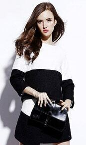 Black White Round Neck Loose Top With Asymmetrical Skirt