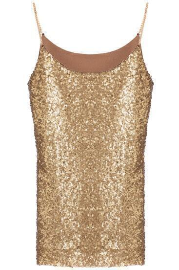 Gold Spaghetti Strap Sleeveless Sequined Vest
