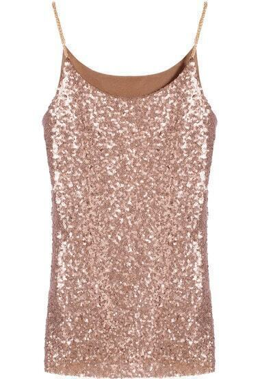 Coffee Spaghetti Strap Sleeveless Sequined Cami Top