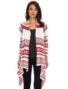 White Red Long Sleeve Geometric Cardigan Sweater