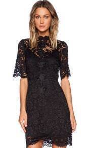 Black Short Sleeve Embroidered Lace Bodycon Dress
