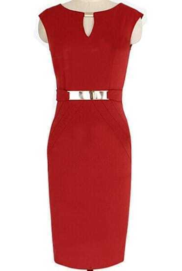 Red V Neck Slim Split Pencil Dress