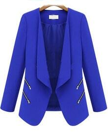 Blue Long Sleeve Zipper Fitted Blazer
