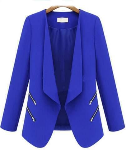 Blue Long Sleeve Zipper Fitted Blazer