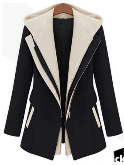 Black Contrast Hooded Zipper Slim Coat