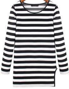 Black White Long Sleeve Striped Split T-Shirt