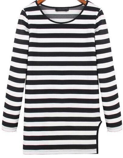 Black White Long Sleeve Striped Split T-Shirt