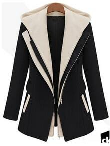 Black Contrast Hooded Zipper Slim Coat