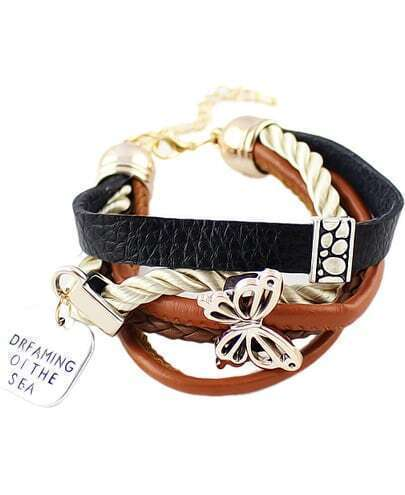 Gold Hollow Butterfly Leather Bracelet