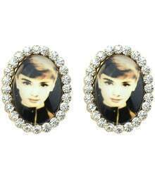 Gold Diamond Photo Stud Earrings