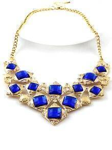 Blue Gemstone Gold Geometric Necklace