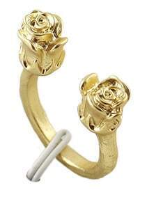 Gold Rose Cuff Ring