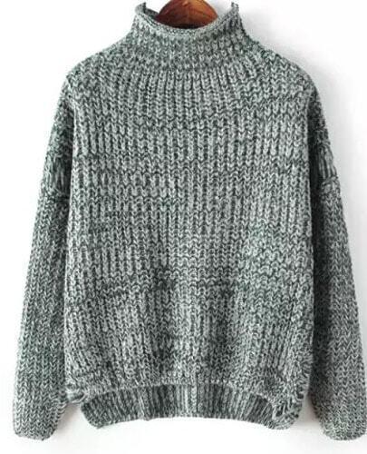 Grey High Neck Dipped Hem Loose Knit Sweater