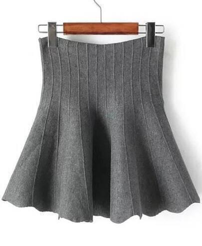 Grey A Line Knit Flouncing Skirt