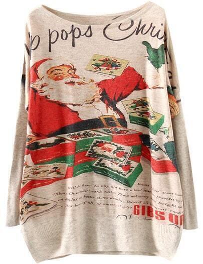 Apricot Santa Claus Print Loose Sweater