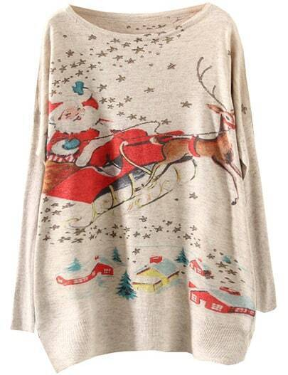 Apricot Santa Claus Deer Print Loose Sweater