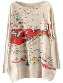 Apricot Santa Claus Deer Print Loose Sweater