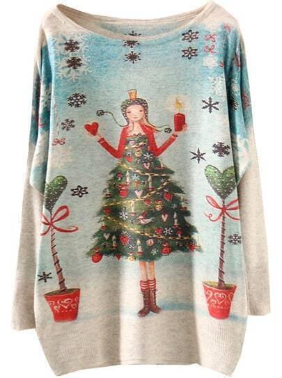 Apricot Christmas Tree Girl Print Sweater