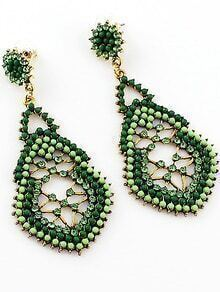 Green Bead Hollow Earrings
