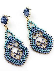 Blue Bead Hollow Earrings