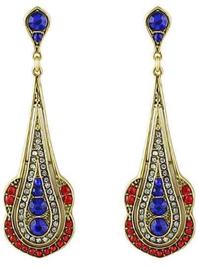 Blue Gold Diamond Drop Earrings