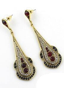 Red Gold Diamond Drop Earrings