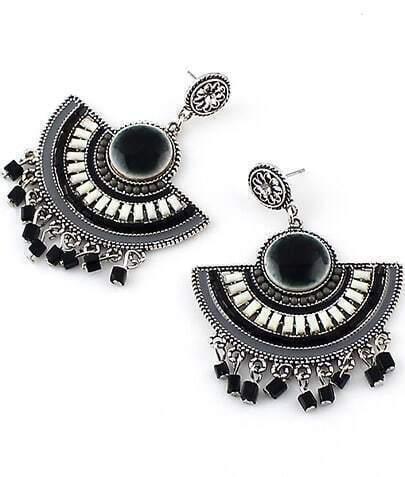 Black Bead Tassel Earrings