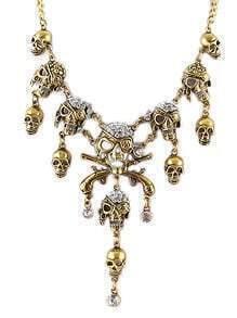 Gold Diamond Skull Chain Necklace