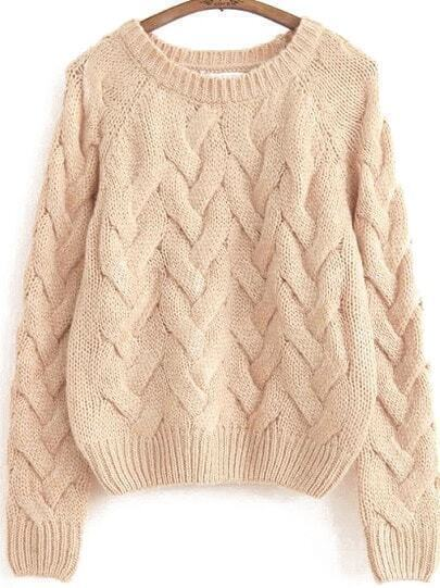Apricot Long Sleeve Vintage Cable Knit Sweater