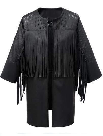 Black Hollow Tassel PU Loose Jacket