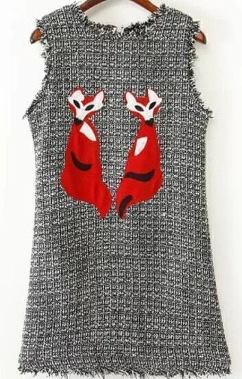 Black Sleeveless Fox Embroidered Fringe Dress