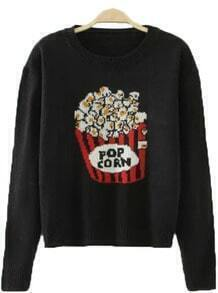 Black Round Neck Long Sleeve Popcorn Pattern Casual Sweater