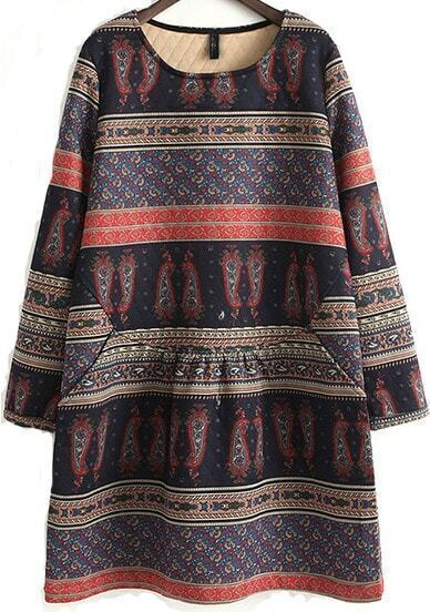 Tribal Style Round Neck Long Cotton Dress