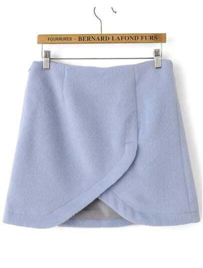 Blue Split Short Skirt