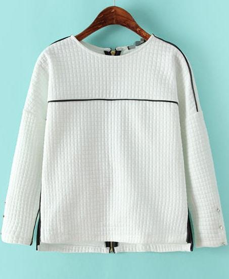 White Round Neck Long Sleeve Back Zipper T-shirt -SheIn