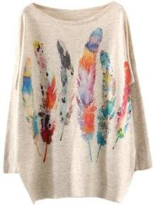 Apricot Long Sleeve Feather Print Loose Sweater