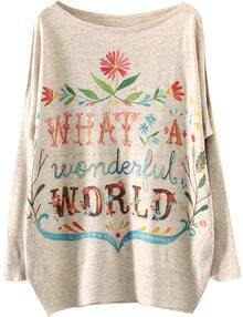 Apricot What A Wonderful Wrold Print Loose Sweater