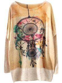 Apricot Long Sleeve Round Neck Print Sweater