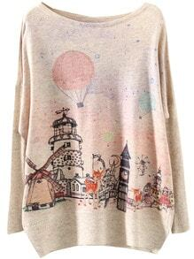 Apricot Long Sleeve Building Print Loose Sweater