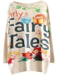 Apricot Round Neck Fairy Tales Print Loose Sweater