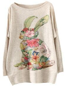 Apricot Round Neck Rabbit Floral Loose Sweater