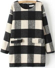 Black White Long Sleeve Plaid Pockets Dress