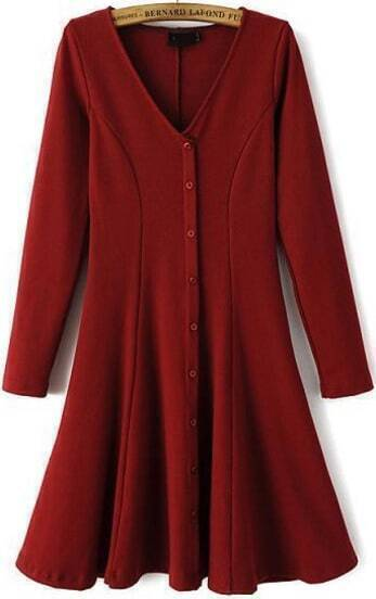 Wine Red V Neck Long Sleeve Pleated Dress
