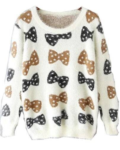White Long Sleeve Bow Pattern Sweater
