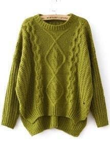 Green Diamond Patterned Dipped Hem Knit Sweater